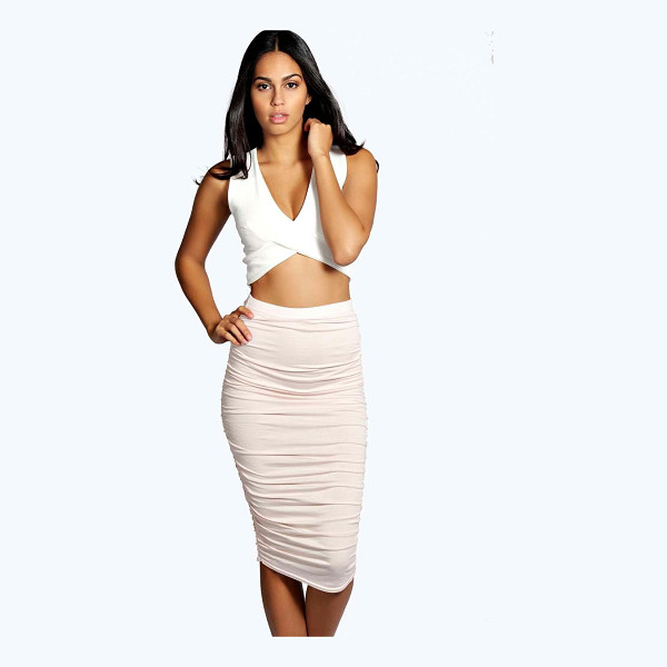 BOOHOO Monica Ruched Sides Midi Skirt - Swap your skinnies for a skirt and do something different...