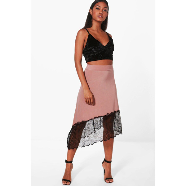 BOOHOO Nadina Eyelash Lace Trim Midi Skirt - Skirts are the statement separate in every wardrobe This...