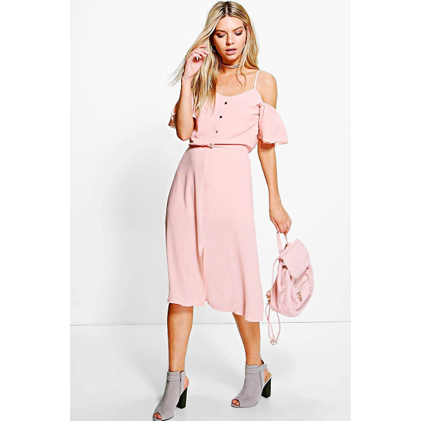 BOOHOO Naomi Woven Cold Shoulder Midi Dress - Pared back day dresses are the perfect base for layering up...