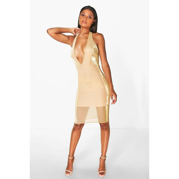 BOOHOO Natalia Halterneck Metallic Midi Dress - Dresses are the most-wanted wardrobe item for day-to-night...