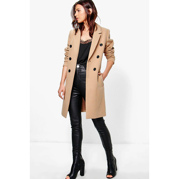 Image result for boohoo natalie double breasted wool coat