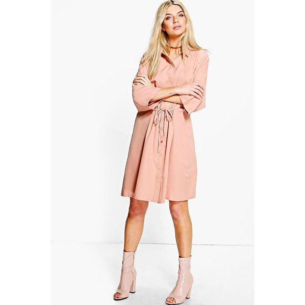 BOOHOO Natasha Rouched Waist Utility Shirt Dress - Dresses are the most-wanted wardrobe item for day-to-night...