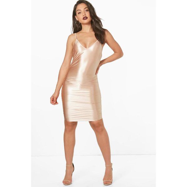 BOOHOO Neve Satin Ruched Bodycon Dress - Dresses are the most-wanted wardrobe item for day-to-night...