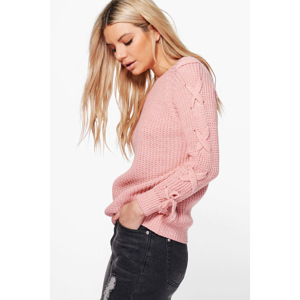 BOOHOO Niamh Lace Up Sleeve Jumper - Nail new season knitwear in the jumpers and cardigans that...