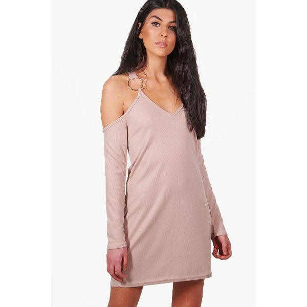 BOOHOO Niamh Rib O-Ring Cold Shoulder Shift Dress - Dresses are the most-wanted wardrobe item for day-to-night...