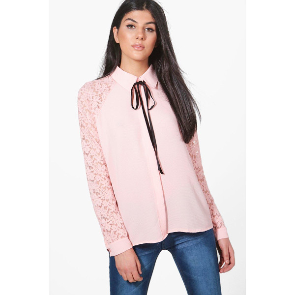BOOHOO Nicole Lace Sleeve Woven Shirt - Steal the style top spot in a statement separate from the...