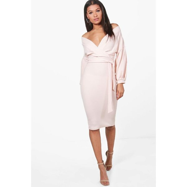BOOHOO Nina Off The Shoulder Wrap Midi Bodycon Dress - Dresses are the most-wanted wardrobe item for day-to-night...