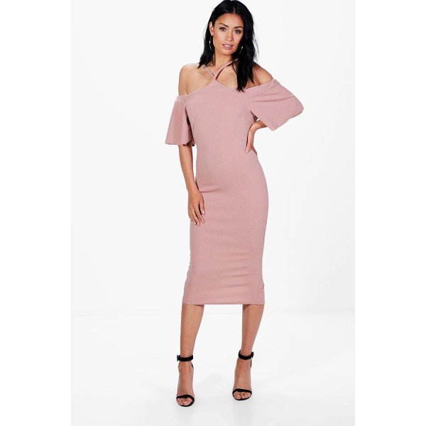 BOOHOO Nina Strappy Cold Shoulder Midi Dress - Nina Strappy Cold Shoulder Midi Dress rose
