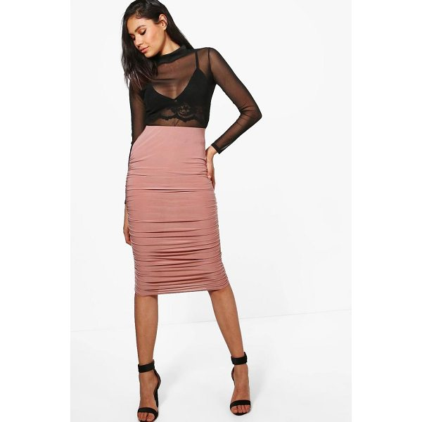 BOOHOO Nolita Rouched Side Slinky Midi Skirt - Skirts are the statement separate in every wardrobe This...
