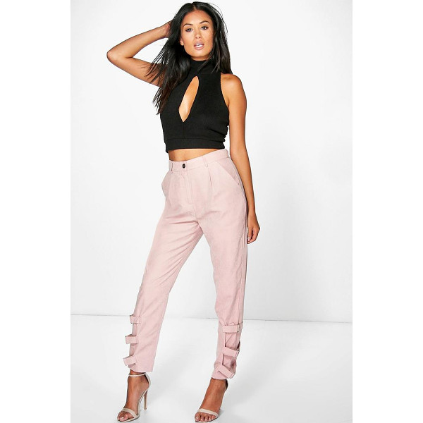 BOOHOO Nysa Buckle Ankle Soft Touch Utility Trousers - Trousers are a more sophisticated alternative to...