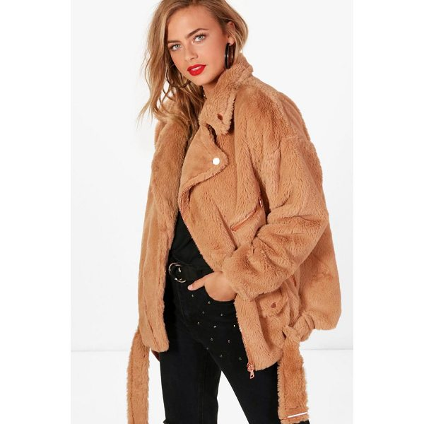 BOOHOO Olivia Boutique Faux Fur Aviator Jacket - Wrap up in the latest coats and jackets and get out-there...
