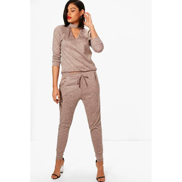 BOOHOO Olivia Choker Knitted Loungewear Set - Nail new season knitwear in the jumpers and cardigans that...
