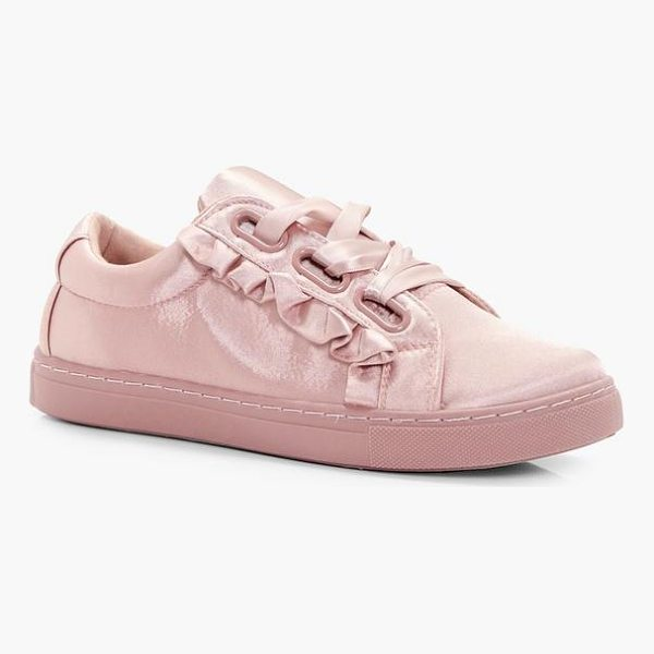 BOOHOO Olivia Frill Trim Ribbon Lace Trainers - We'll make sure your shoes keep you one stylish step ahead...