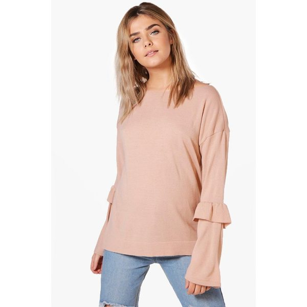 BOOHOO Olivia Ruffle Sleeve Fine Knit Jumper - Nail new season knitwear in the jumpers and cardigans that...