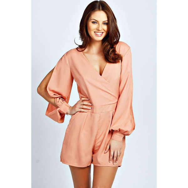 BOOHOO Olivia Split Sleeve Cross Over Front Playsuit - Perfect for day or play, a playsuit will solve your style...