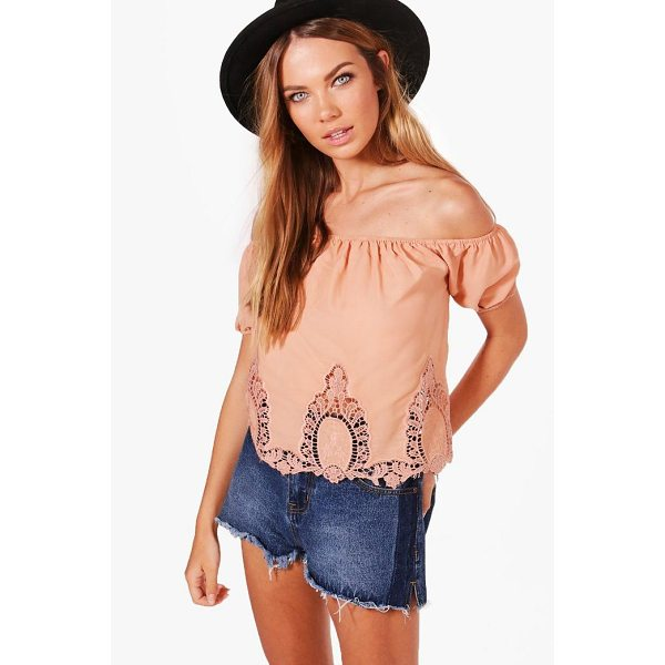 BOOHOO Ona Crochet Trim Off The Shoulder Top - Steal the style top spot in a statement separate from the...