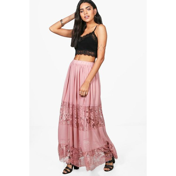 BOOHOO Orla Lace Panelled Chiffon Maxi Skirt - Skirts are the statement separate in every wardrobe This...