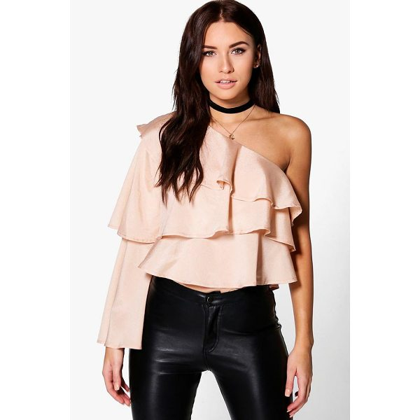 BOOHOO Orla One Shoulder Ruffle Top - Steal the style top spot in a statement separate from the...