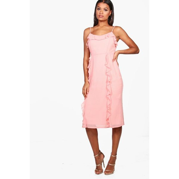 BOOHOO Orlaith Chiffon Strappy Ruffle Midi Dress - Dresses are the most-wanted wardrobe item for day-to-night...