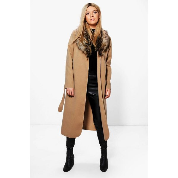 BOOHOO Paige Faux Fur Collar Wrap Coat - Wrap up in the latest coats and jackets and get out-there...