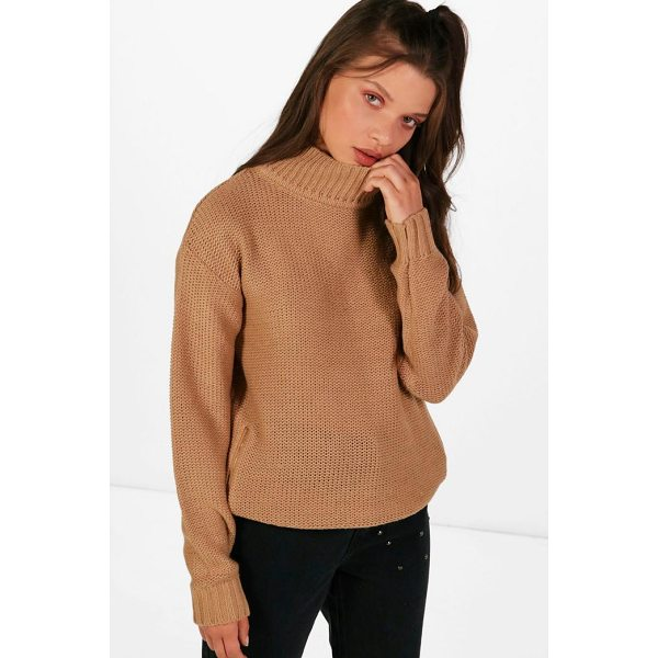 BOOHOO Paige Reverse Knit Turtle Neck Side Zip Jumper - Nail new season knitwear in the jumpers and cardigans that...