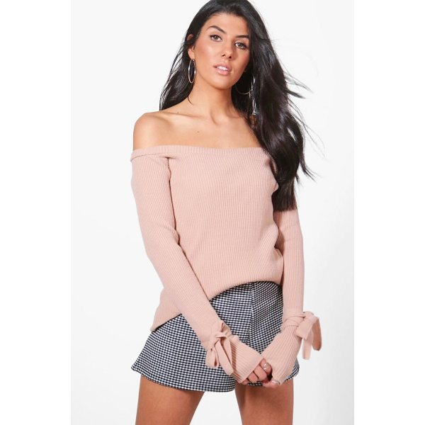 BOOHOO Paige Tie Cuff Rib Knit Bardot Jumper - Sweaters are a key piece for your casual wardrobe. Think...