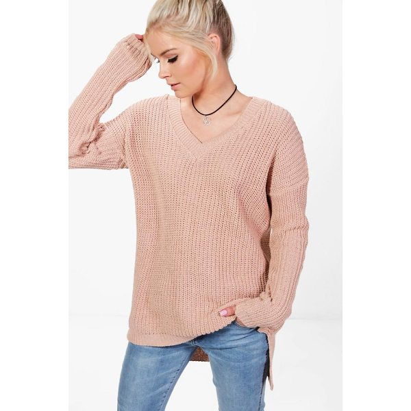 BOOHOO Paige V-Neck Slouchy Jumper - Nail new season knitwear in the jumpers and cardigans that...