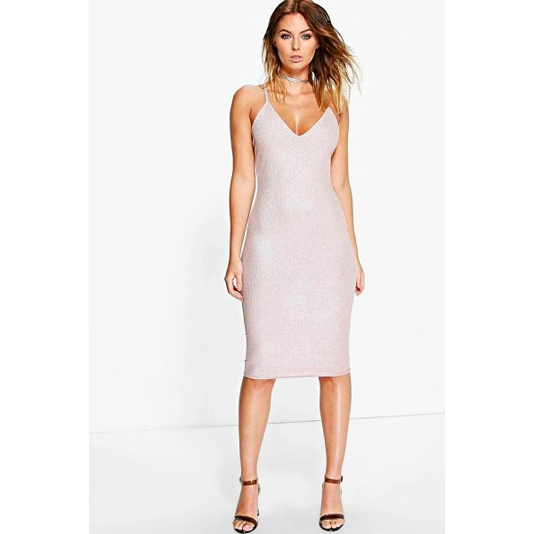 BOOHOO Pascale Metallic Rib Strappy Midi Dress - Dresses are the most-wanted wardrobe item for day-to-night...