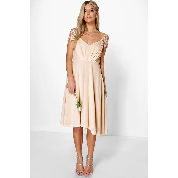 BOOHOO Peony Eyelash Lace Sleeve Chiffon Midi Skater Dress - Every girl's wardrobe should include a skater dress. A...
