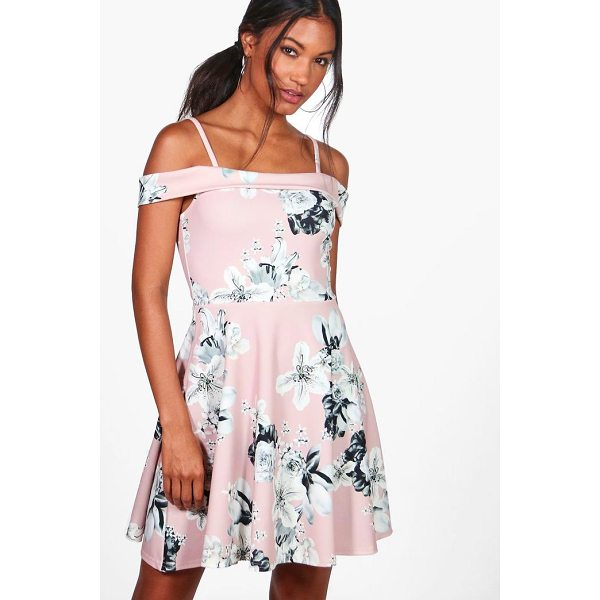 BOOHOO Petra Floral Print Cold Shoulder Skater Dress - Dresses are the most-wanted wardrobe item for day-to-night...