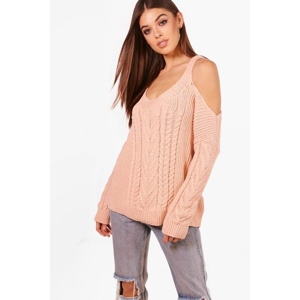 BOOHOO Phoebe Cable Knit Cold Shoulder Jumper - Nail new season knitwear in the jumpers and cardigans that...