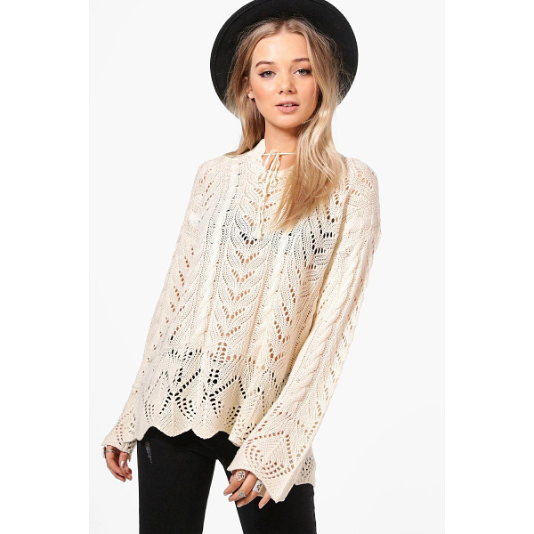 BOOHOO Phoebe Festival Tie Neck Jumper - Nail new season knitwear in the jumpers and cardigans that...