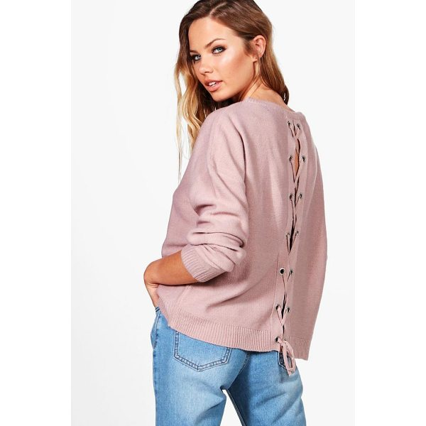 BOOHOO Phoebe Lace Up Back Jumper - Nail new season knitwear in the jumpers and cardigans that...
