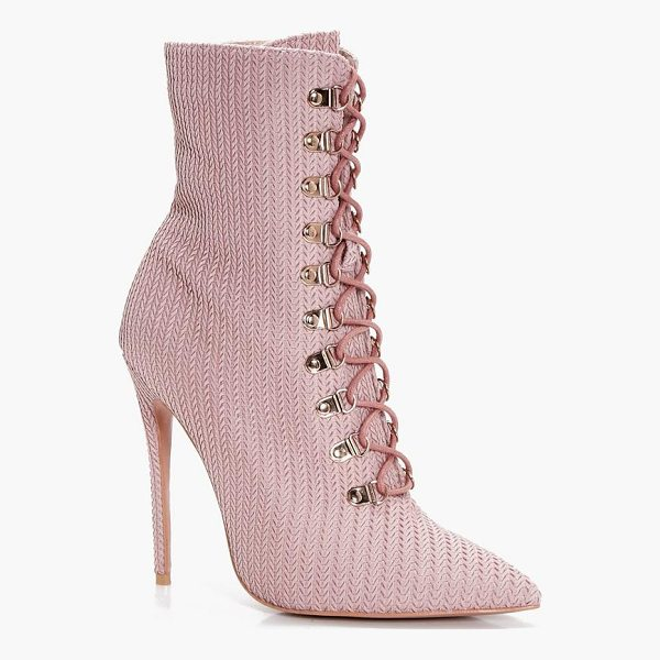 BOOHOO Phoebe Lace Up Pointed Toe Sock Boot - We'll make sure your shoes keep you one stylish step ahead...
