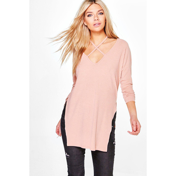 BOOHOO Phoebe Strap Neck Detail Rib Knit Jumper - Nail new season knitwear in the jumpers and cardigans that...