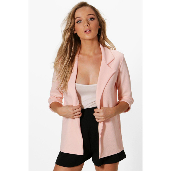 BOOHOO Phoebe Waffle Boyfriend Blazer - Wrap up in the latest coats and jackets and get out-there...