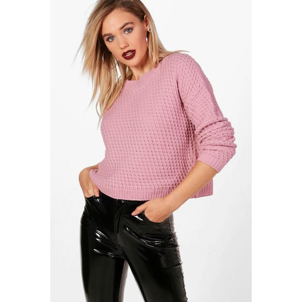BOOHOO Phoebe Waffle Stitch Boxy Jumper - Nail new season knitwear in the jumpers and cardigans that...