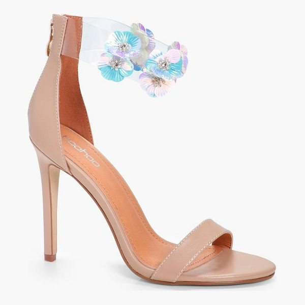 BOOHOO Poppy Floral Embellished Perspex 2 Part Heels - We'll make sure your shoes keep you one stylish step ahead...