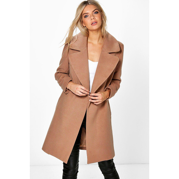 BOOHOO Poppy Oversized Collar Wool Look Coat - Wrap up in the latest coats and jackets and get out-there...