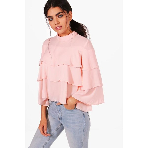 BOOHOO Poppy Tiered Ruffle Blouse - Steal the style top spot in a statement separate from the...