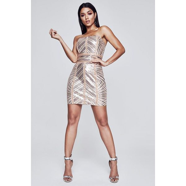 BOOHOO Premium Kyra Chevron Sequin Bandeau Dress - Dresses are the most-wanted wardrobe item for day-to-night...
