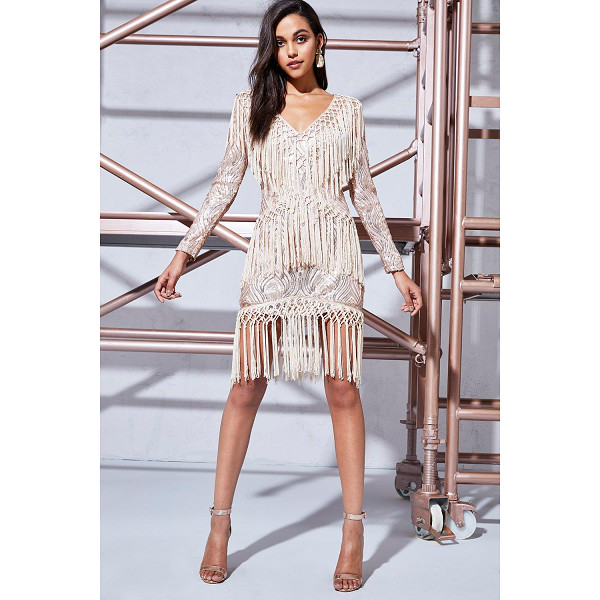 BOOHOO Premium Louise Sequin & Tassel Bodycon Dress - Dresses are the most-wanted wardrobe item for day-to-night...