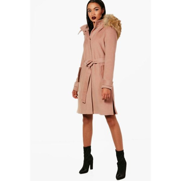 BOOHOO Quinn Faux Fur Trim Hood Belted Coat - Wrap up in the latest coats and jackets and get out-there...