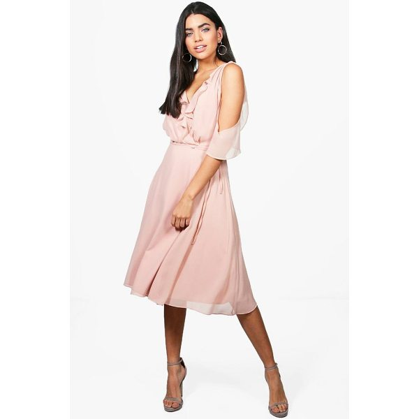 BOOHOO Rae Chiffon Frill Cold Shoulder Midi Dress - Dresses are the most-wanted wardrobe item for day-to-night...
