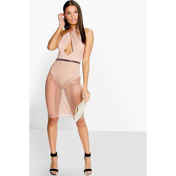 BOOHOO Rae Crossover Top Mesh Skirt Overlay Midi Dress - Get dance floor-ready in an entrance-making evening...