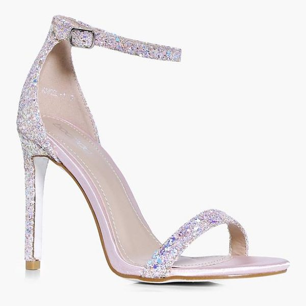 BOOHOO Rebecca Bridal Glitter Two Part Sandal - We'll make sure your shoes keep you one stylish step ahead...