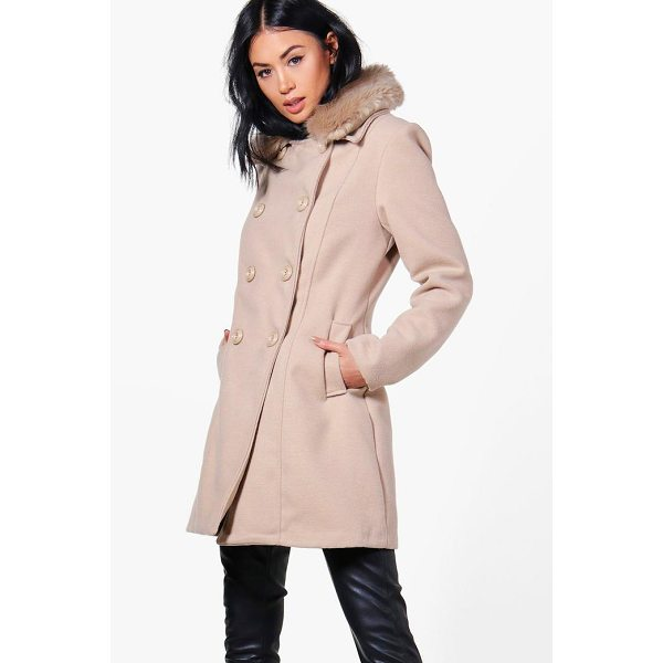 BOOHOO Rebecca Faux Fur Collar Double Breasted Coat - Wrap up in the latest coats and jackets and get out-there...