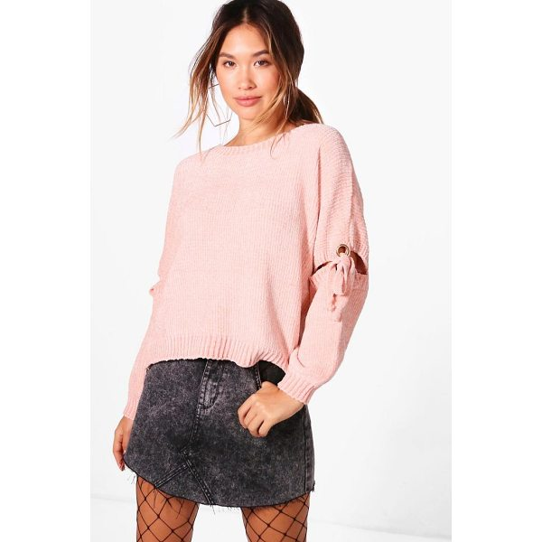 BOOHOO Rebecca Lace Up Detail Chenille Jumper - Nail new season knitwear in the jumpers and cardigans that...