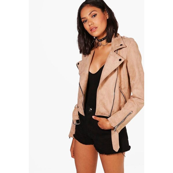 BOOHOO Rebecca Premium Vegan Suede Biker Jacket - Wrap up in the latest coats and jackets and get out-there...