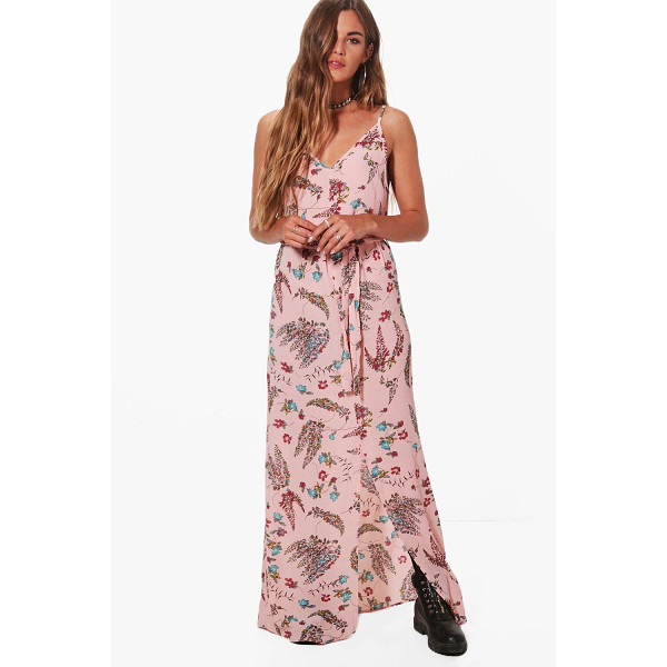 BOOHOO Rebecca Strappy Tie Waist Printed Woven Maxi Dress - Dresses are the most-wanted wardrobe item for day-to-night...
